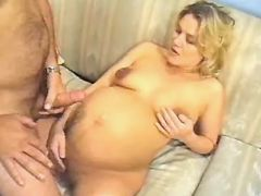 Pregnant cutie gets cum on paunch