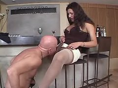 Big cute tranny n dude sucks each other in kitchen