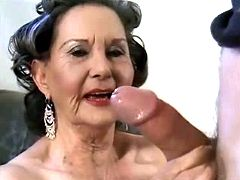 Funny granny licking ass and cock of young lover