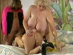 Chesty plump chicks fucked by guy in groupsex