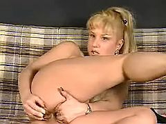 Hot mature blonde playing with different lovetoys