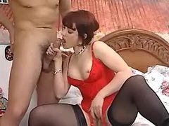 Redhead vixen does BJ to bloke after oral surprise