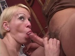 Frolicsome tranny sucks cockloving guy in red room