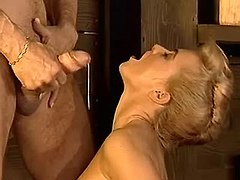 Gorgeous vixen gets cum on tits from vigorous hunk