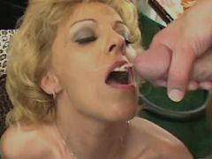 Blond milf in stockings gets facial