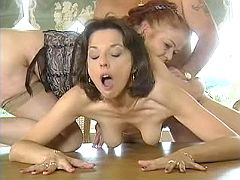 Mature couple fucking innocent cutie on the table