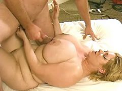 Mature fatty gets cumload on boobs