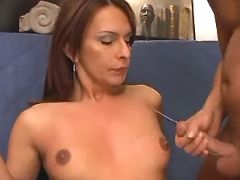 Shemale cums and gets cumload on tits after fuck