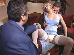Ardent blond slutty sucking two clients by turns