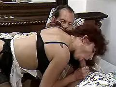 Mature maid in stockings seduces old master in bed