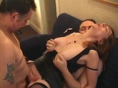 Two men screw skinny mature slut