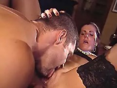 Slutty maid in stockings and master make oralsex
