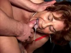 Granny fucks and gets tasty cum in mouth from guy