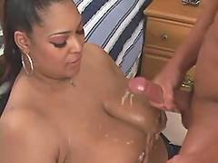 Fat ebony gets cumshot