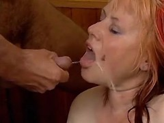 Fat housewife eating hot fresh jizz