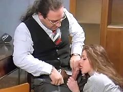 Sexy longhaired employee sucks boss to get a job