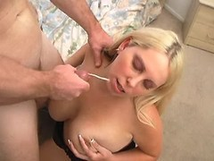 Shy chubby sweetie gets cum on tits
