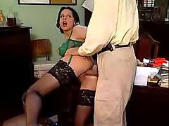 Lavish cumshot in office