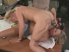Lesbo office sluts dildo each other