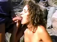 Blazing mexican doll throats macho on her knees