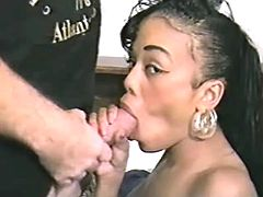 Perky mulatto honey getting licked before blowjob