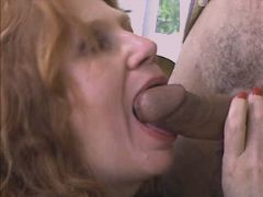 Mature plays w dildo and blows cock