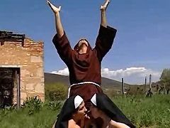 Two cock hungry nuns greedily sharing beefy ramrod