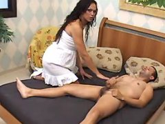 Longhaired brunette shemale in orgy