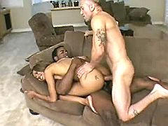 Ebony shorty gets intense sandwich fuck and facial