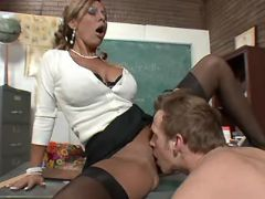Nice mature teacher licked and sucks cock on table