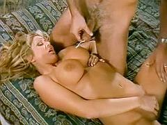 Killer blonde takes cock from behind and gets cum