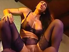 Mom in stockings gets facial