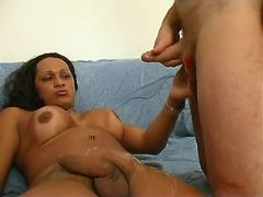 Ethnic shemales jizz by turns in crazy groupsex