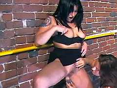 Hot lezzie gets dildo fun