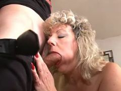Blonde granny deep throats strong cock and licked