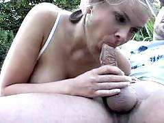 Slut deepthroat in nature