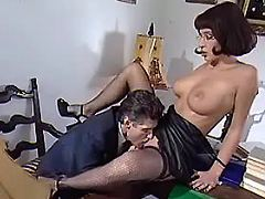 Boss licks pussy of nice secretary on office table