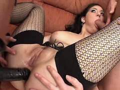 Mature sucks cock and gets strapon