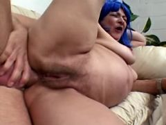 Chesty granny with hairy pussy fucked in all holes