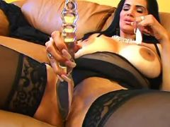 Hot latin mature in stockings prefers huge dildo