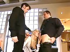 Slim blond chick serving husband and his friend