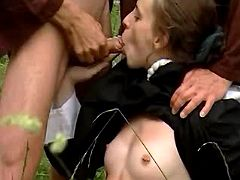 Young nun catching cum after oral fun with monks