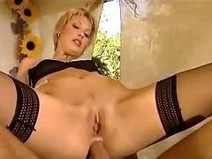 Luxurious blond chick gets deep assfucked outdoors