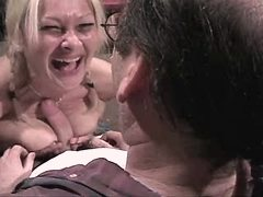 Mature sucks cock and gets titsfuck