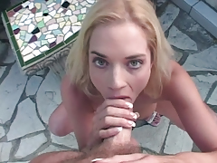 Stupendous Blond Strips & Sucks A Big White Cock Outdoors