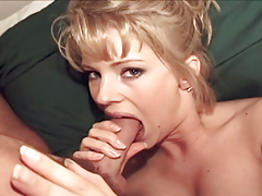 Blonde girl with a perfect body sucks and fucks two cocks !