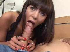 Beautiful tranny and bloke give blowjob each other