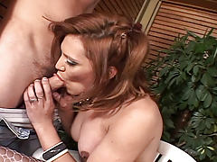Sexy brown hair ladyman Brigitte accepts sucked and fucks a guy